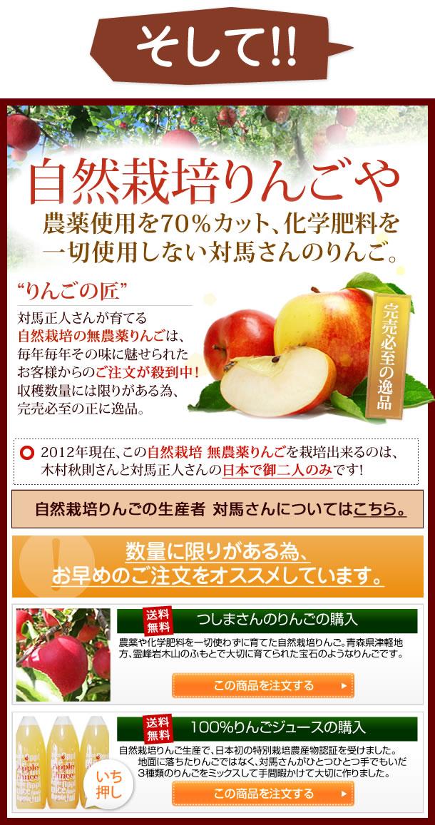 そして忘れてならないのは、りんごの匠 対馬正人さんが育てる自然栽培りんごです。毎年毎年その味に魅せられたお客様からのご注文が殺到中。またサンジョナゴールドは、収穫期間が約1ヶ月と短い為、この時期にしか食べることが出来ない正に逸品です。数量に限りがある為、お早めのご注文をオススメしています。