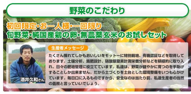 野菜のこだわり。初回限定お一人様一回限りのお試しセット。生産者メッセージ。酒井久和。沢山とれて美味しいがモットーに特別栽培、有機認証などを取得しております。土壌分析、施肥設計、亜硝酸窒素計測、栄養分析などを積極的に取り入れ、日々の肥培管理に役立てています。私たちは、野菜が健やかに育つを手助けすることしか出来ません。毎日口に入るものですから、安全なのは当たり前。私たち生産者の当然の義務と言っていいでしょう。
