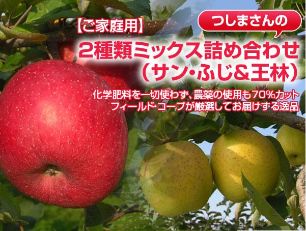 【ご家庭用】サン・ふじ&王林 化学肥料を一切使わず、農薬の使用も70%カット フィールド・コープが厳選してお届けする逸品