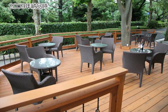 2009年にカフェに納品したラタンテーブルセット