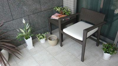 ラタンテーブル60シングルソファ