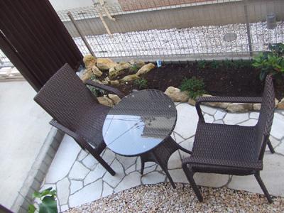 ラタンテーブル60ラタンガーデンアームチェア セット