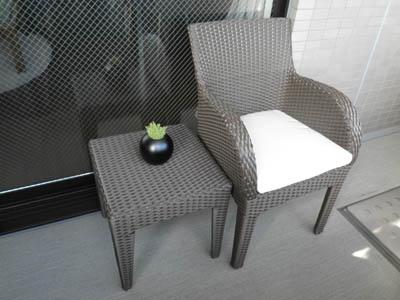 ラタンシングルソファー サイドテーブル45