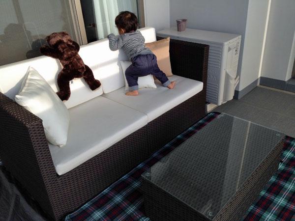 ラタン2人掛けソファ ローテーブル