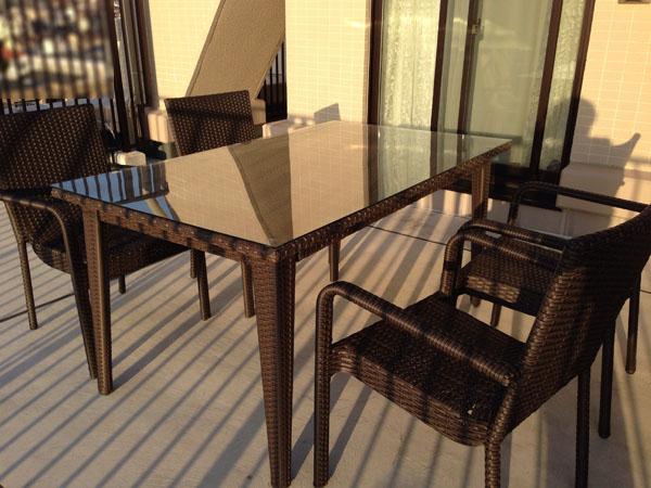 ラタンスクエアテーブル150 ラタンアームチェアセット
