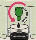 抽出液はツマミを回すと取り出せます。