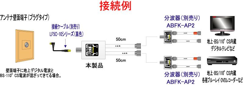 【地上デジタル対応!】 2分配器直付け(全端子電流型)出力ケーブル(50cm)付《 KFJP-S2Z 》