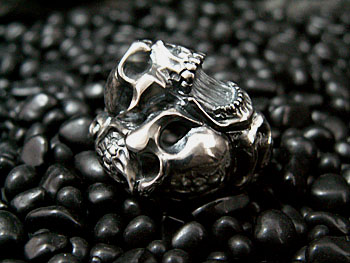 TWO FACE TAO SKULL RING  L